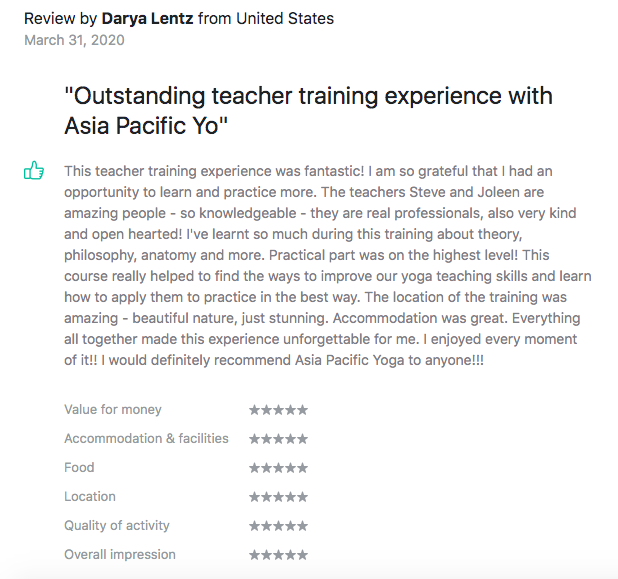 Testimonials Asia Pacific Yoga Darya